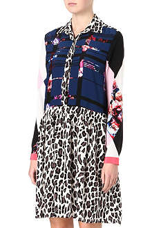 MSGM Floral and leopard-print shirt dress