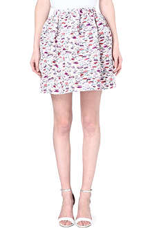 MSGM Floral-print pleated skirt