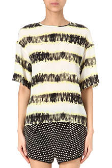 MSGM Tie-dye stripe silk top