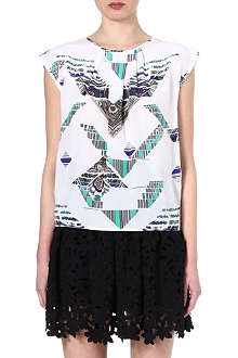 MSGM Sleeveless abstract print top