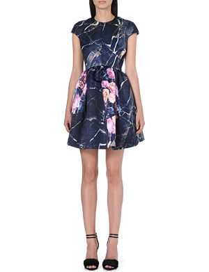 MSGM Floral capped-sleeve dress