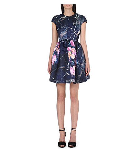 MSGM Floral capped-sleeve dress (Navy