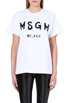 MSGM Monochrome slogan t-shirt