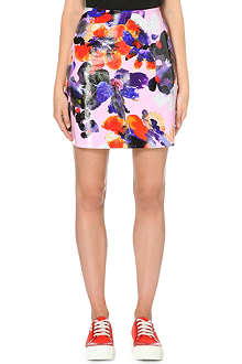 MSGM Floral-print leather skirt