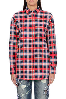 MSGM Tartan-panelled cotton shirt