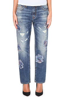 MSGM Straight-leg mid-rise embellished jeans