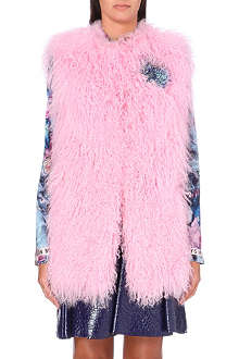 MSGM Sequin-detailed shearling gilet
