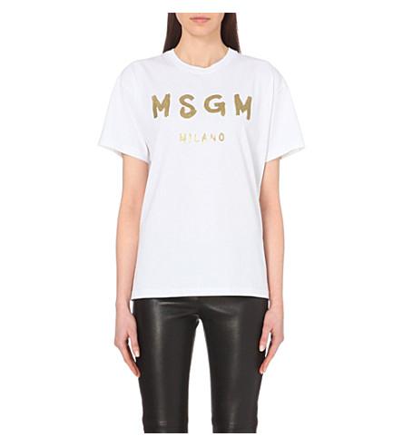 MSGM Logo-print cotton-jersey t-shirt (White