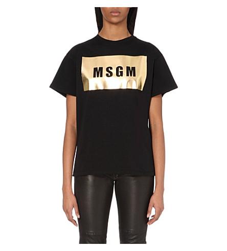 MSGM Logo-print metallic cotton t-shirt (Black