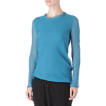 JNBY Long-sleeved chiffon top (Turquoise