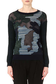 JNBY Sheer-detail camouflage jumper