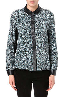 SEA Floral-print leather-trim shirt