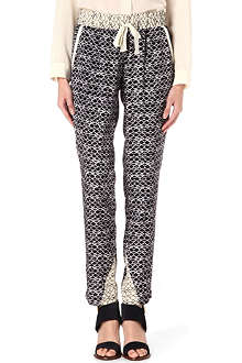 SEA Mixed-print silk jogging bottoms