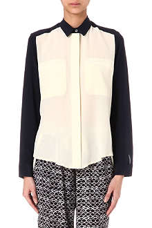 SEA Contrast-front silk shirt