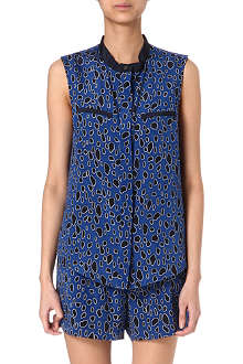 SEA Leopard-print sleeveless silk shirt