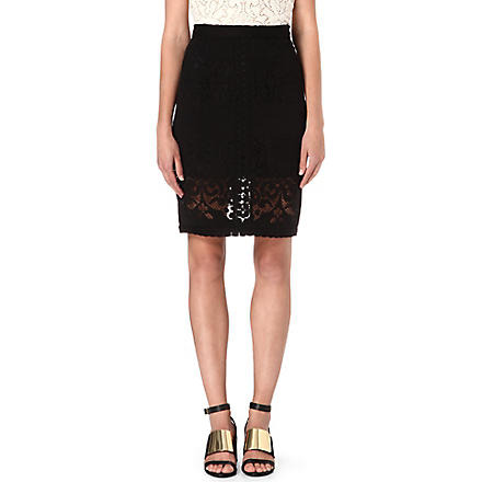 SEA Embroidered-lace pencil skirt (Black