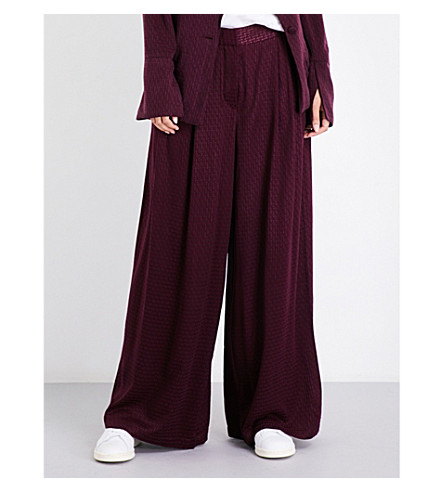 FREE PEOPLE Wide high-rise houndstooth-jacquard trousers (Wine