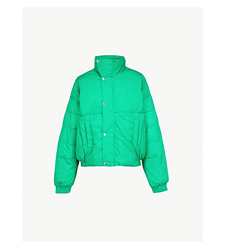 FREE PEOPLE Cropped shell puffer jacket (Green