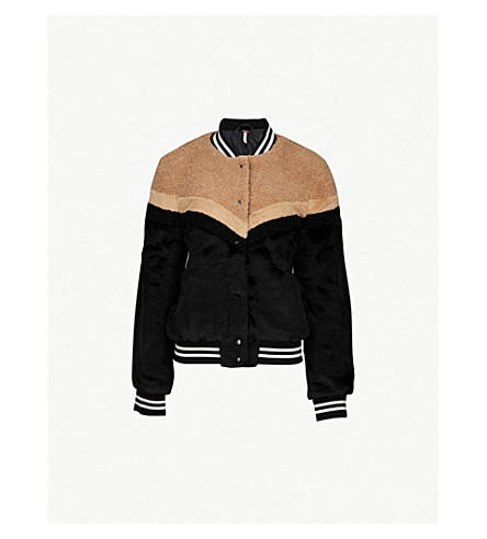 FREE PEOPLE Faux-fur bomber jacket (Black