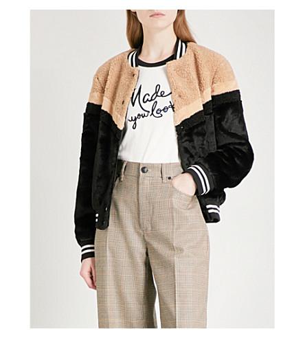 FREE PEOPLE Faux-fur bomber jacket (Black