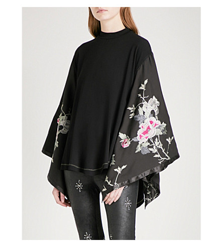 FREE PEOPLE Sydney's Tuesday jersey and satin top (Black