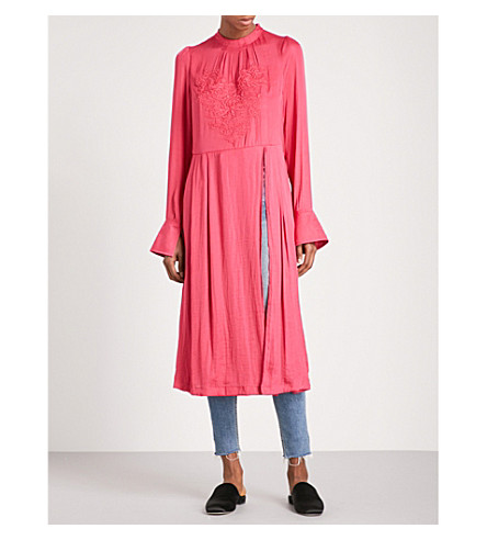 FREE PEOPLE New day floral-embroidered satin tunic (Rose