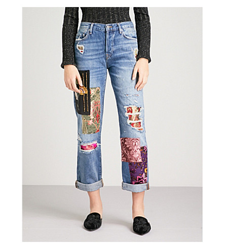 FREE PEOPLE Embellished-patch boyfriend-fit high-rise jeans (Blue