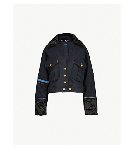 FREE PEOPLE Faux-fur-detail wool-blend jacket (Navy