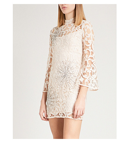 FREE PEOPLE North Star embellished lace mini dress (Ivory