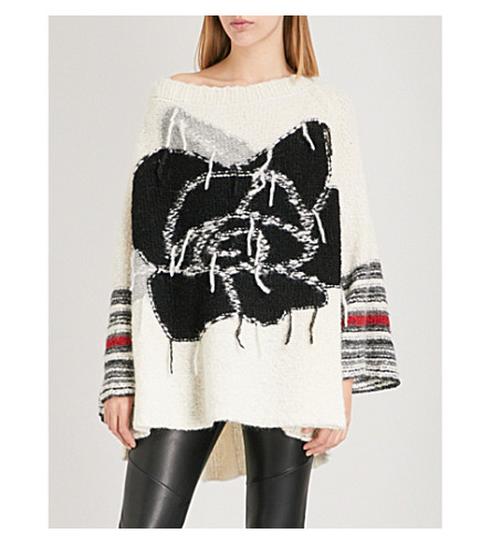FREE PEOPLE Last rose contrast-detail alpcaca-blend jumper (Ivory