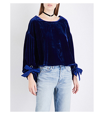 FREE PEOPLE Gimme Some Lovin' velvet top (Blue