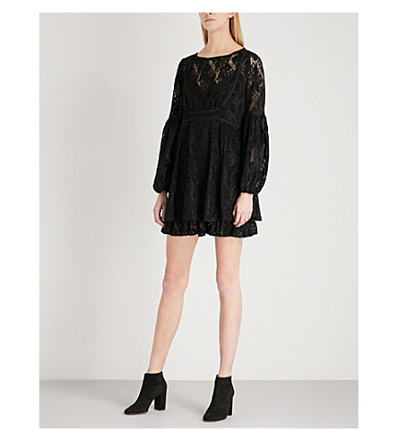 FREE PEOPLE Ruby balloon-sleeve lace mini dress (Black