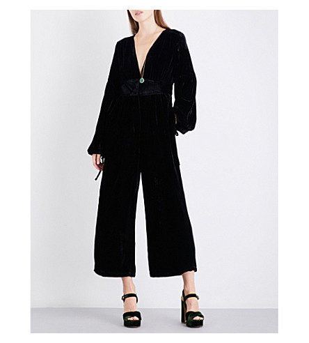 FREE PEOPLE True Lovin velvet jumpsuit (Black
