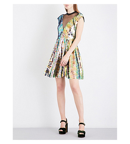 FREE PEOPLE Dance Till Dawn sequinned mini dress (Green+combo