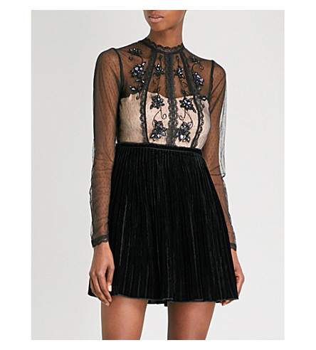 FREE PEOPLE Ariel tulle and velvet mini dress (Black