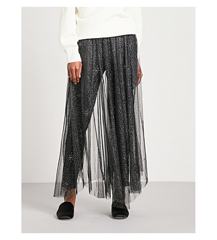 FREE PEOPLE Brightest Star glittery tulle skirt (Black