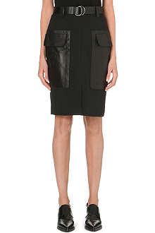 10 CROSBY Crepe and leather skirt