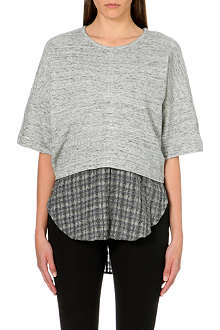 10 CROSBY Checked-insert cotton top