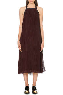 10 CROSBY Leather-trim pleated chiffon dress