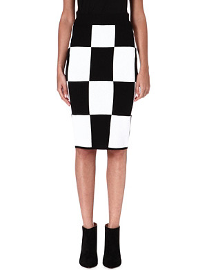 10 CROSBY Checkerboard knitted pencil skirt