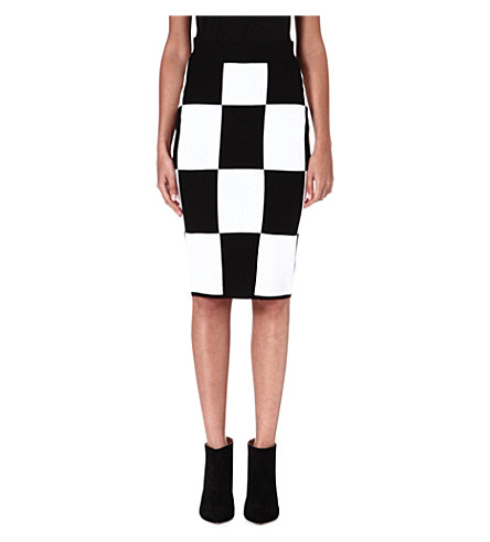 10 CROSBY Checkerboard knitted pencil skirt (Black