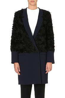 10 CROSBY Faux fur panel coat