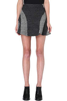 10 CROSBY Panelled basket-weave mini skirt
