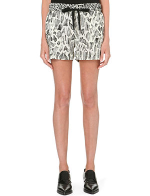 10 CROSBY Animal-print silk-plissé shorts