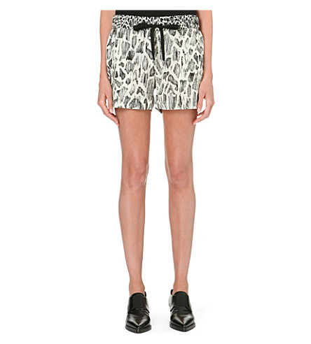 10 CROSBY Animal-print silk-plissé shorts (Ivory