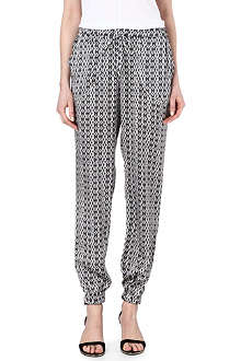 10 CROSBY Printed silk trousers
