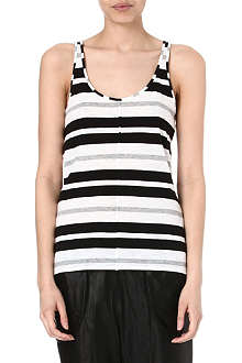 10 CROSBY Striped stretch-cotton top