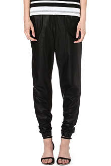 10 CROSBY Drawstring-waist leather jogging bottoms