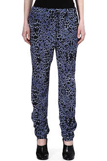 10 CROSBY Leopard-print silk trousers