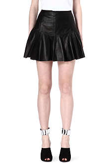 10 CROSBY Leather ruffle skirt